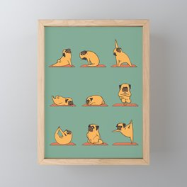 Pug Yoga Framed Mini Art Print