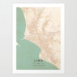 Lima, Peru - Vintage Map Art Print