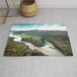 Dettifoss Waterfall Aerial View Landscape Iceland Rug