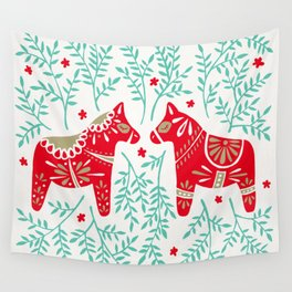 Swedish Dala Horses – Red & Mint Palette Wall Tapestry