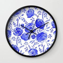 Blue Roses Pattern Wall Clock