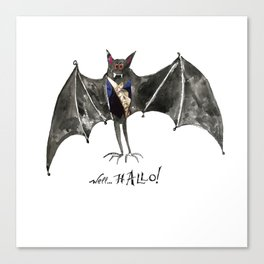 Halloween Welcome to the Ball Vampire Bat Greeting Card Canvas Print