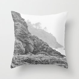 Washington Coast Mist Fog Shoreline Beach Pacific Ocean Long Beach Beards Hollow Forest Northwest Throw Pillow