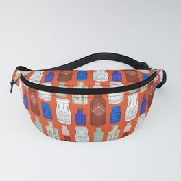 Vintage Bottle Collection Illustrated Repeat Pattern Print Fanny Pack
