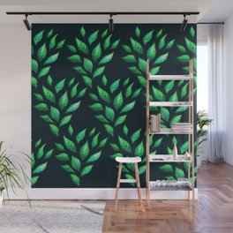 Dark Abstract Green Leaves Wall Mural