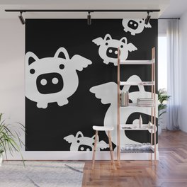 Pigs Will Fly - white on black Wall Mural