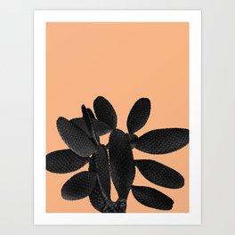 Black Pastel Orange Cacti Vibes #1 #plant #decor #art #society6 Art Print