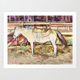 Saddle On Horseback 1  Art Print