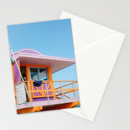 Colorful pink Lifeguard Station on Miami Beach Florida Stationery Cards