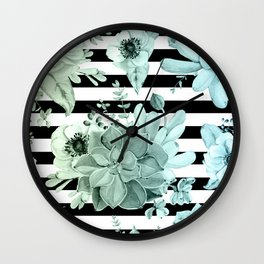 Simply Succulent Garden Striped in Turquoise Green Blue Gradient Wall Clock