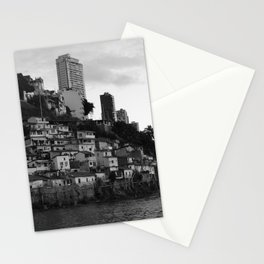 Black and white photo of a favela taken from the water Stationery Cards