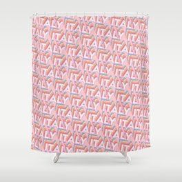 Italy Trendy Rainbow Text Pattern (Pink) Shower Curtain
