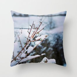 Early spring leaves covered by snow Throw Pillow
