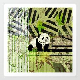 Panda Cub  Abstract vintage pop art composition Art Print