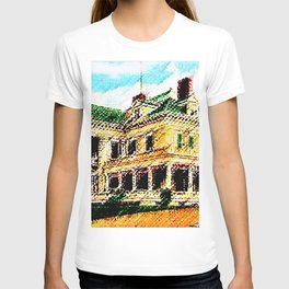 Beachmond Mansion - Newport, Rhode Island Mansion Watercolor - Jéanpaul Ferro T-shirt