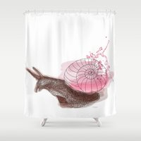 snail Shower Curtains featuring Snail by Barbara_Baumann_Illustration