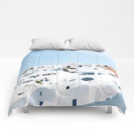 Lost in Santorini Greece Comforters