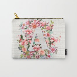 Initial Letter A Watercolor Flower Carry-All Pouch
