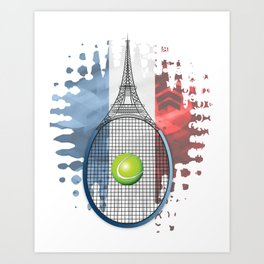Racquet Eiffel Tower with French flag colors in background Art Print