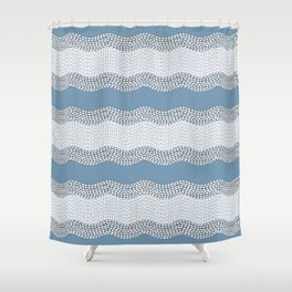 Wavy River VI in blue and grays Shower Curtain