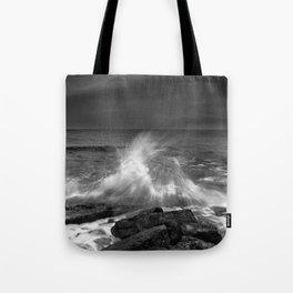 Mediterranean Wave At Sunset. Bw Tote Bag