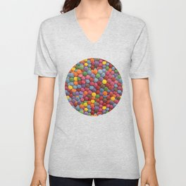 Candy-Coated Milk Chocolate Candy Pattern Unisex V-Neck