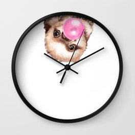 Baby Sloth Playing Bubble Gum Wall Clock