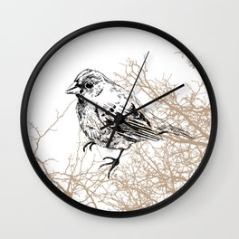 Bird black and white sketch Wall Clock