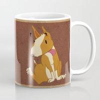 bull terrier Mugs featuring Bull Terrier by Kristen Rimmel