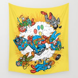 When Clown Cars Explode Wall Tapestry