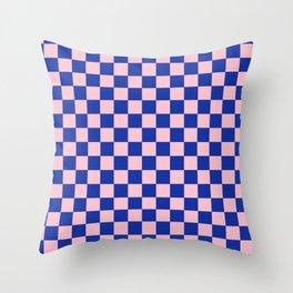 Royal Blue and Pretty Pink  Checks Geometric Throw Pillow