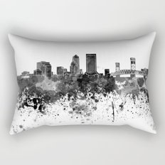 Jacksonville skyline in black watercolor Rectangular Pillow