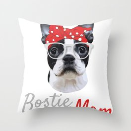 Retro Boston Terrier Dog Owner Tee Shirt GiftVintage Funny Bostie Mom Cool Mama Graphic Men Women Throw Pillow
