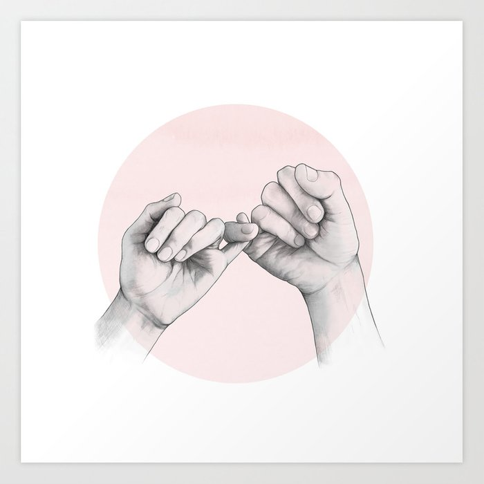 pinky swear // hand study Art Print by lauragraves | Society6