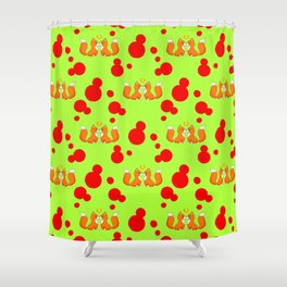 Cute lovely little foxes in love and bold red retro dots seamless pattern design. Hello November. Shower Curtain