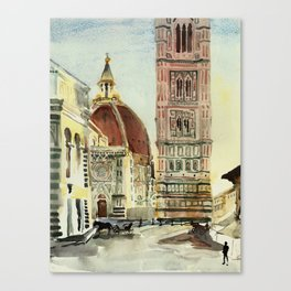 florence duomo original watercolor of Italy Canvas Print