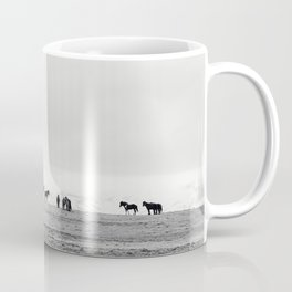 Black and White Horses in Landscape Photograph, Iceland Coffee Mug
