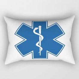 EMT Health Care Rod of Asclepius Blue Medical Symbol Rectangular Pillow