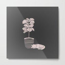 Cat and Plant Metal Print