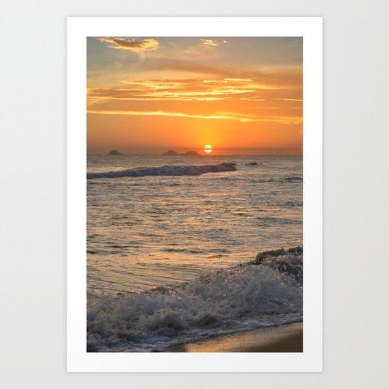 Sunset with crashing waves Art Print