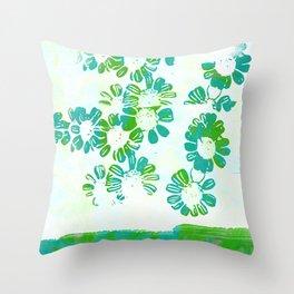 makenzie: floral tie dye, green Throw Pillow