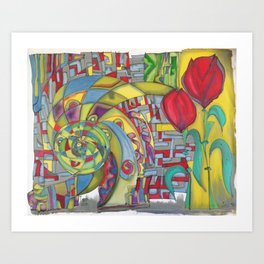 abstract red flower Art Print