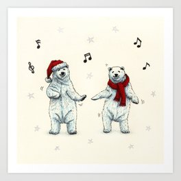 The polar bears wish you a Merry Christmas Art Print