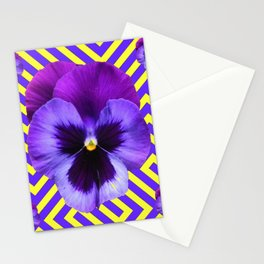 CONTEMPORARY PURPLE PANSIES  FLOWERS YELLOW PATTERNS Stationery Cards