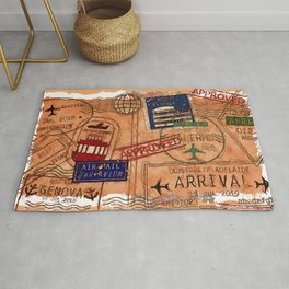 Entry Approved - Passport Stamps Rug