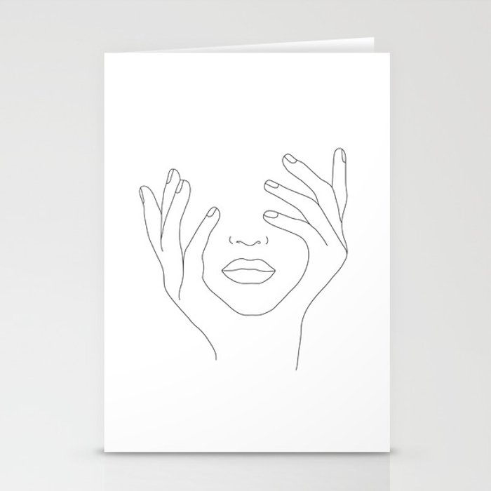 Minimal Line Art Woman with Hands on Face Stationery Cards