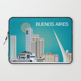 Buenos Aires, Argentina - Skyline Illustration by Loose Petals Laptop Sleeve
