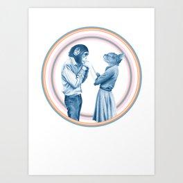 MENAGERIE KISSING CHIMP AND KIT Art Print