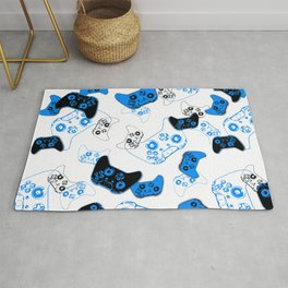 Video Game White and Blue Rug