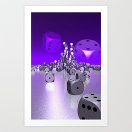 dice day - violet Art Print